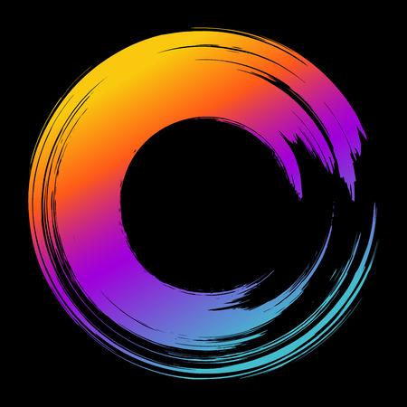 Grunge hand drawn colorful paintbrush circle. Curved brush strok Illustration