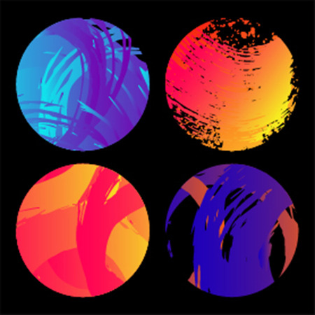 br: Set of grunge colourful circles shape. Abstract stamps. Round br