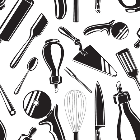 Seamless pattern background with black hand drawn kitchen tools on white background vector illustration
