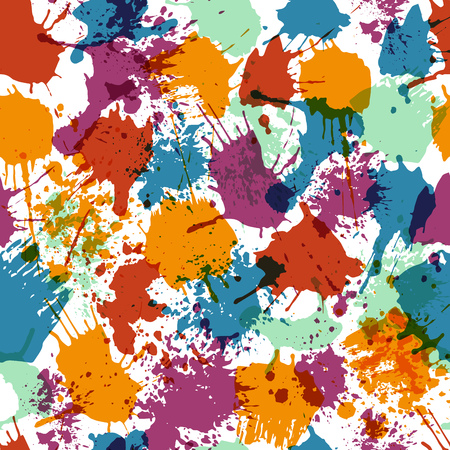Seamless pattern background with color spots and splash on white background vector illustration. Ink grunge splashes