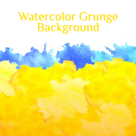Set of hand drawn colorful watercolor spots on white background