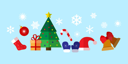 Colorful simple christmas and new year flat icons composition.