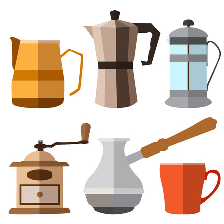 Set of seample color coffee flat icons on white background
