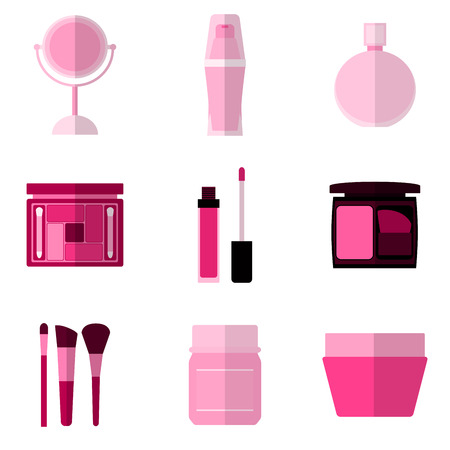 icons: Set of simple pink cosmetic flat icons on white background