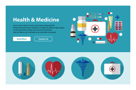 reanimation: Flat design of web header template with medicine icons Illustration