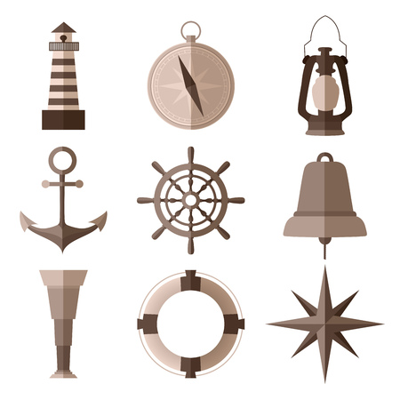 Set of monochrome nautical flat symbols on white background Illustration