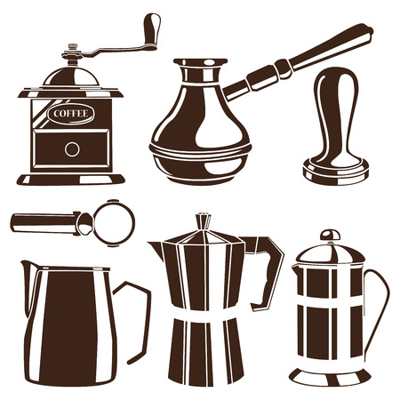 Set of brown coffee tools Illustration