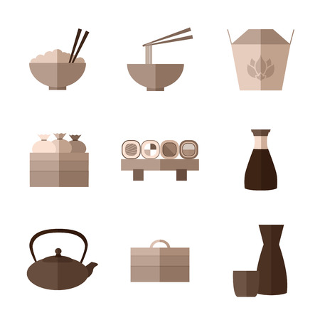 sha: Set of simple flat asian food and equipment  icons with long sha Illustration