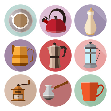 circl: Set of simple coffee flat icons with long shadows on volor circl