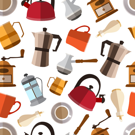 Seamless pattern background with  simple coffee flat icons