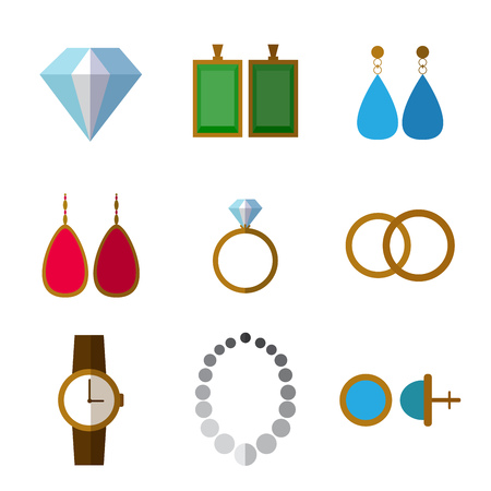 Set of simple jewelry icons flat on white background