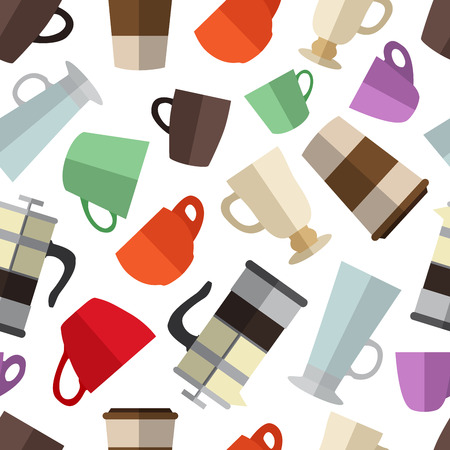 Seamless pattern background with  simple colorful coffee cups an