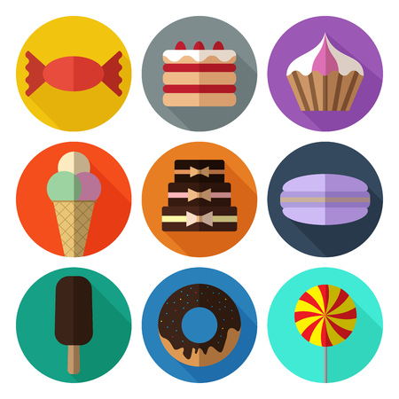 Set of colorful simple bakery flat icons with long shadows on ci Illustration