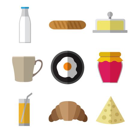 ice tea: Set of simple breakfast food icons flat on white background