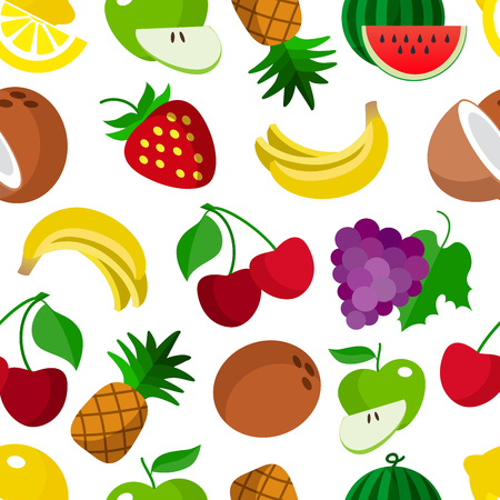 Colourful fruit seamless pattern background