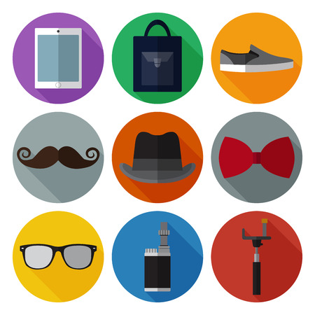 velocipede: Set of simple hipster accessory flat icons on color circles Illustration