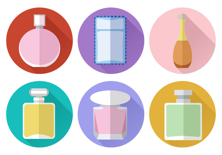Set of simple perfumery flat icons with long shadows on color ci