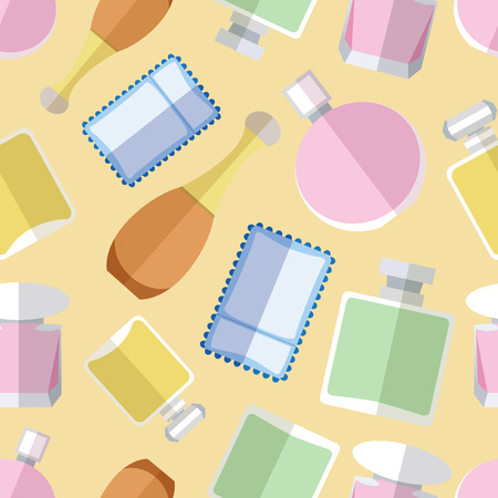 Seamless pattern background with simple perfumery flat icons