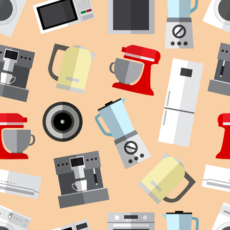 Seamless pattern background with simple appliances flat icons