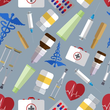 Seamless pattern background with simple medicine flat icons