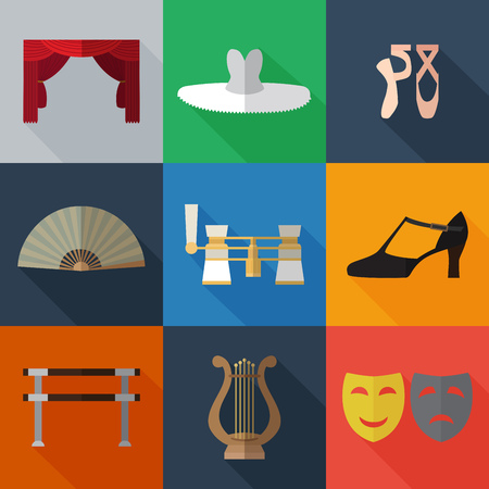 Set of simple theater and ballet symbols flat icons on color squares vector illustration