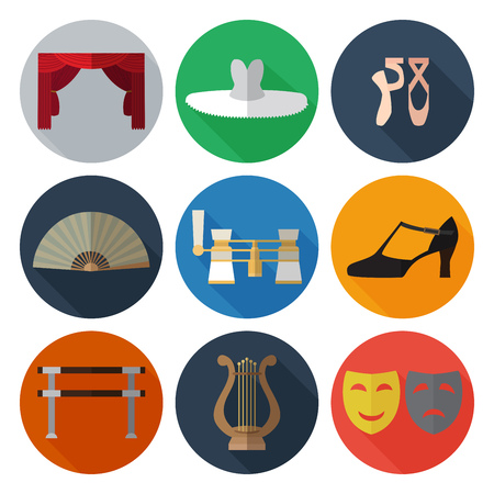 Set of simple theater and ballet symbols flat icons on color circles vector illustration