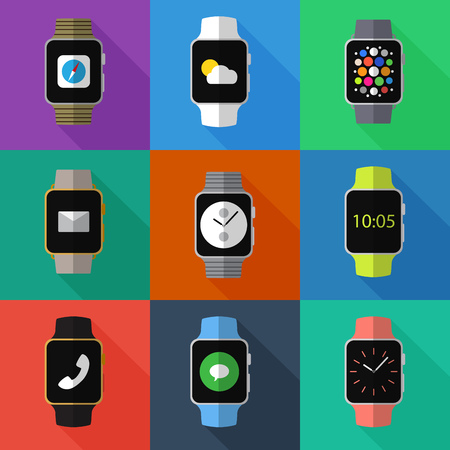 Set of simple smart watch flat icons on color squares vector illustration