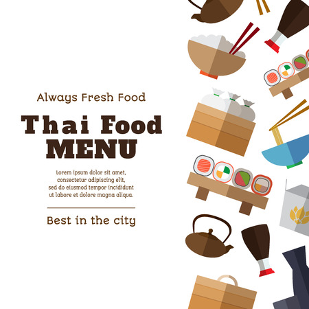 thai noodle: Thai food menu template with simple flat asian food and equipment  icons on white background vector illustration. Wok flat Illustration