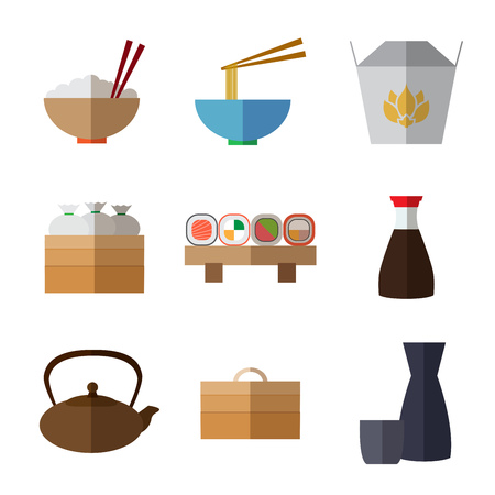 bao: Set of simple flat asian food and equipment  icons with long shadows on white background vector illustration. Wok flat Illustration
