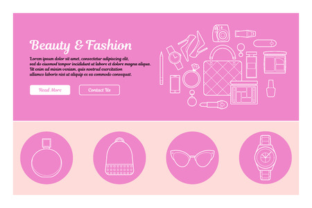 earrings: Line art design of web header template with flat icons of beauty and fashion. Modern vector illustration concept for websites. Ingographics vector illustration