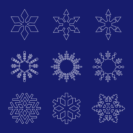 Set of white snowflakes line art  icons on blue background vector illustration