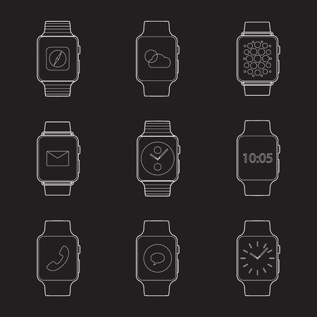 Set of simple smart watch line art icons with shadows on white background vector illustration