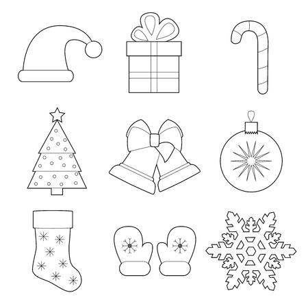Set of simple christmas and new year line art  icons