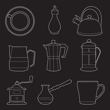 Set of simple coffee line art  icons