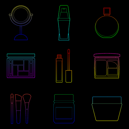 Set of simple cosmetic color line art icons