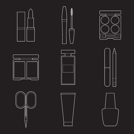 Set of simple cosmetic line art icons