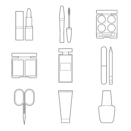 Set of simple cosmetic line art icons on white background