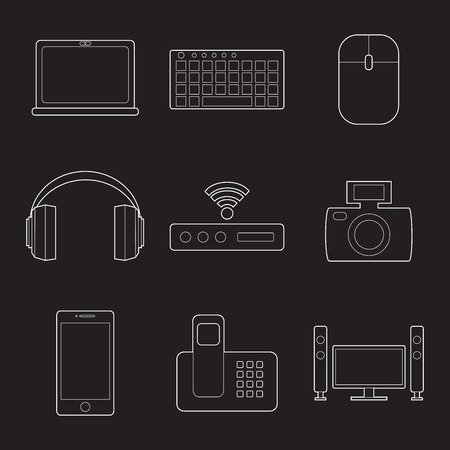 Set of simple devices line art icons