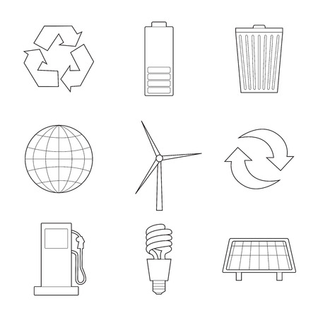 Set of simple ecology signs line art icons on white  background