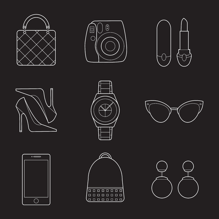 Set of simple fashion lineart objects on black background
