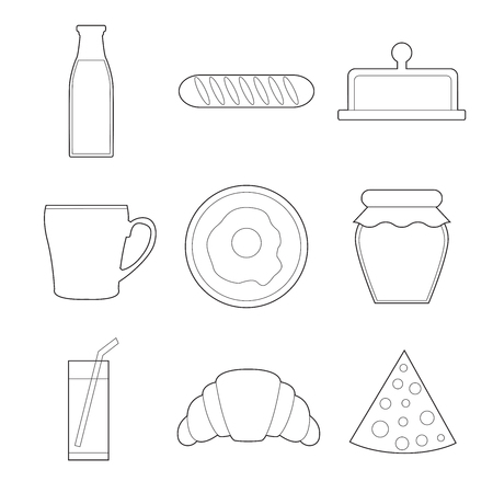 Set of simple breakfast food line art icons on white background