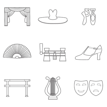 Set of simple theater and ballet symbols line art  icons on white background