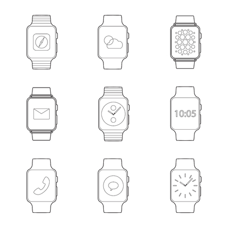 Set of simple smart watch line art icons with shadows on white background Ilustração