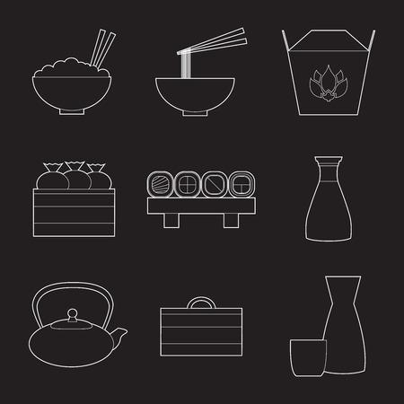 シンプルなライン アート アジア食品と機器のアイコンのセット  イラスト・ベクター素材