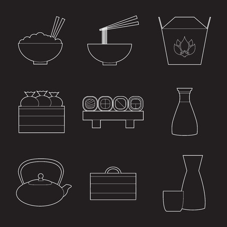 Set of simple line art asian food and equipment  icons Illustration