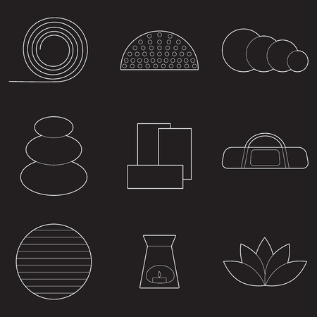Set of simple yoga equipment line art  icons on black background
