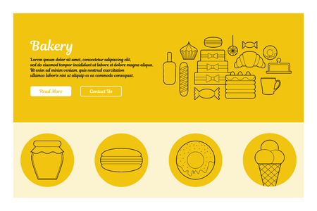 Line art design of web header template with flat icons of bakery.