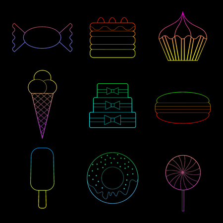 Set of color line art  simple bakery  icons on black background