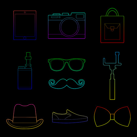 Set of simple color hipster accessory line art icons on black background