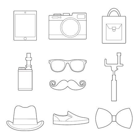 Set of simple hipster accessory line art icons on white background